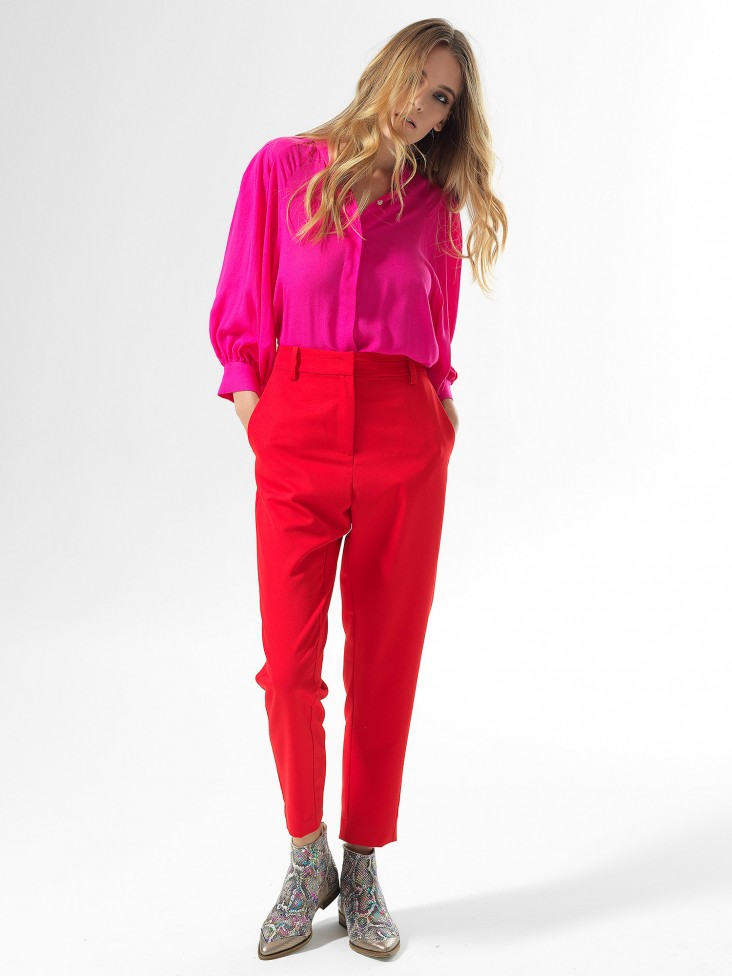 Red Roll Slim Pants